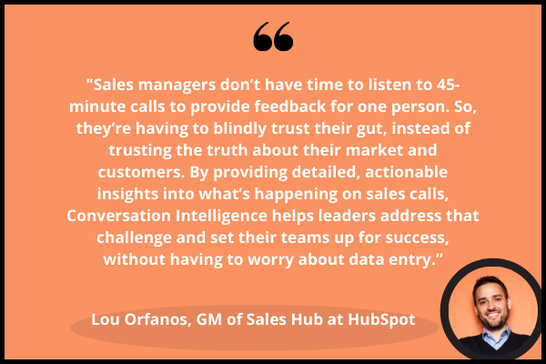 Quote from Lou Orfanos, GM of Sales Hub at HubSpot. Conversation Intelligence eliminates managers to review 45 minute calls and data entry by providing transcribed feedback from sales calls.