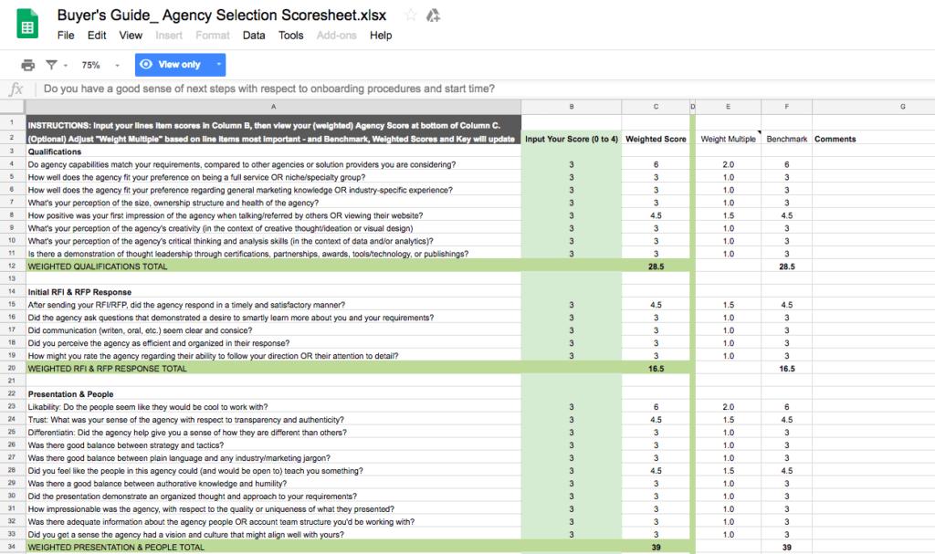 Agency Buyer's Guide Selection Scoresheet