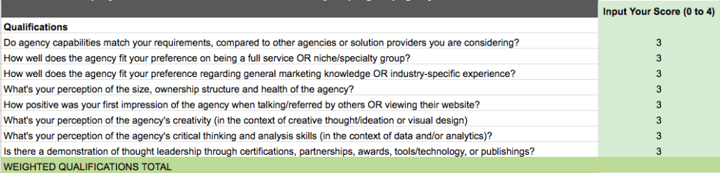 Agency Buyer's Guide Selection Scoresheet Preview